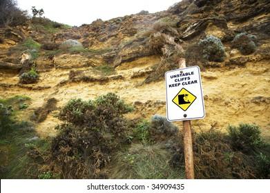 Danger falling rocks unstable cliffs