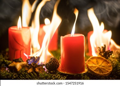 Danger of fire hazard from a burning advent wreath during Christmas season
