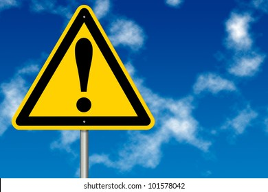 Danger And Hazard Sign on a sky background