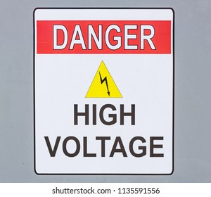 Danger, High Voltage Sign in White, red and Yellow