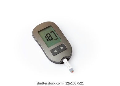 Danger of hyperglycemia, glucometer with high blood sugar isolated on white background