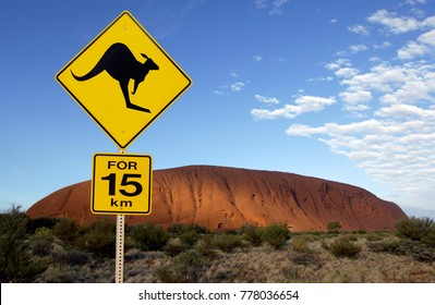 'Danger Kangaroo' road sign near Ayers Rock in the Northern Territory of Australia.  Aboriginal name Uluru. It is a UNESCO World Heritage Site.