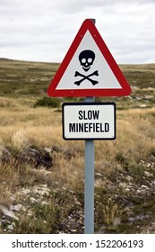 Danger Minefield sign near a road in the Falkland Islands (Islas Malvinas).