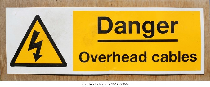 Danger Overhead wires warning sign