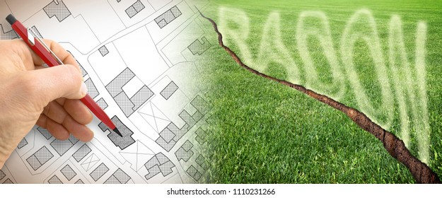 The danger of radon gas in our cities - concept image with cracked green mowed lawn with radon gas escaping and hand drawing over a cadastral map