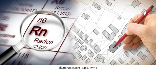 The danger of radon gas in our cities - concept image with periodic table of the elements, magnifying lens and hand drawing over a cadastral map