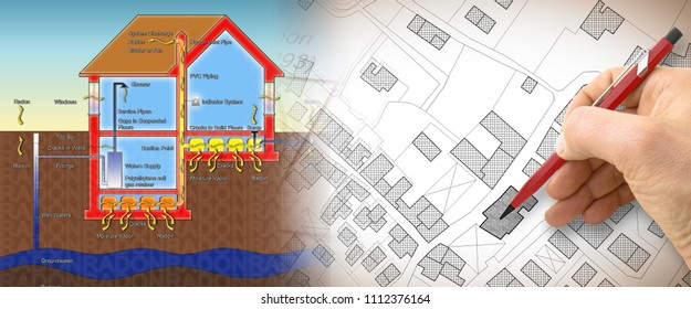 The danger of radon gas in our homes - concept illustration with hand drawing over an imaginary cadastral map of territory