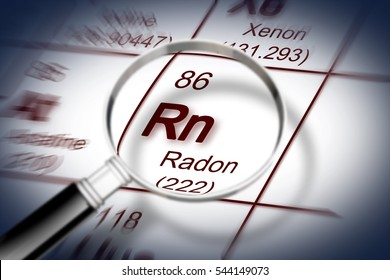 The danger of radon gas in our homes - concept image with periodic table of the elements and magnifying lens