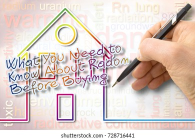 """The danger of radon gas in our homes - concept image with text: """"What you need to know about radon before buying"""""""
