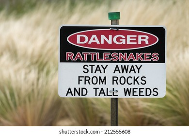 Danger Rattlesnakes sign in front of tall weeds