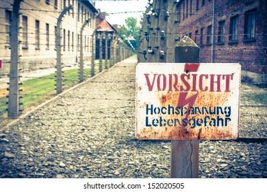 Danger sign Auschwitz
