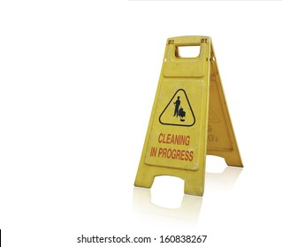 """Danger Sign """"cleaning in progress"""" isolated on white background."""