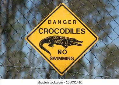 danger sign - crocodiles, Queensland, Australia