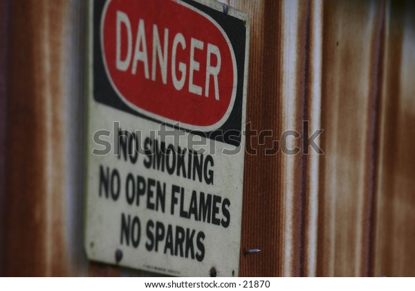 Danger sign, selective focus.