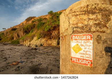 Danger sign for unstable cliffs san diego california
