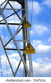 Danger signal of high tension, over blue sky