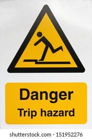 Danger trip hazard warning sign