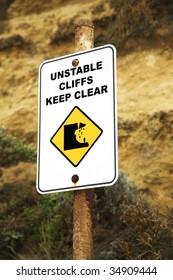 Danger unstable cliffs