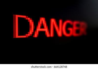 Danger word on black background