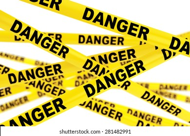 Danger Yellow Tape Strips on a white background