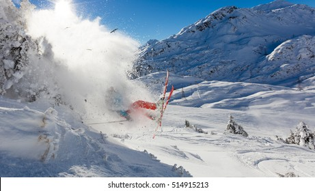 Dangerous accident of skier jumping in the air., concept of risk and insurance