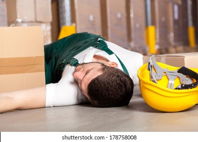 Dangerous accident at work in factory warehouse