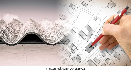 Dangerous asbestos roof: one of the most dangerous materials in buildings - concept image with hand drawing on an imaginary city map