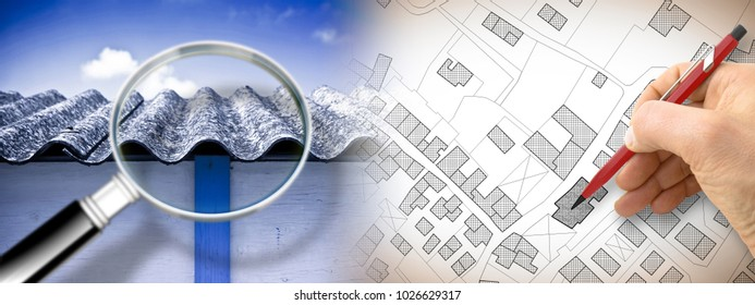 Dangerous asbestos roof seen through a magnifying glass: one of the most dangerous materials in buildings - concept image with hand drawing on an imaginary city map