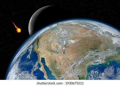 Dangerous asteroid approaching planet Earth, total disaster and life extinction, elements of this image furnished by NASA