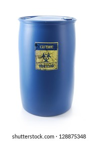 Dangerous biological materials stored in blue container with biohazard warning label shot on white