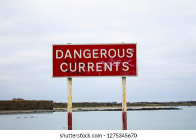 Dangerous currents sign in Ireland