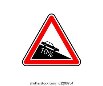 Dangerous descent road sign illustration