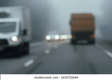 Dangerous driving due to drunkenness or fatigue. Falling asleep while driving. Car crash hazard. Blurred image through the windshield through the eyes of a sleepy driver