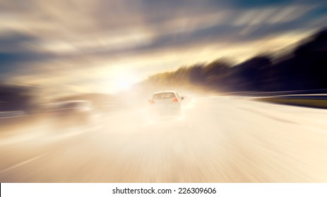 Dangerous Driving - Driving on a wet road against the light