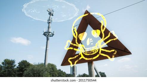 Dangerous EMF Radiation Communication 5G 6G Tower. Warning sign cellular signals, harmful network
