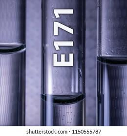Dangerous food additive titanium dioxide E171 in a medical test tube
