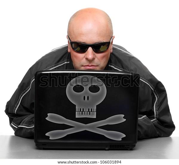 Dangerous hacker with laptop.