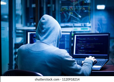 Dangerous hackers hack into corporate servers.They often have multiple data display screens and they hide themselves in darkness.
