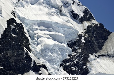 Dangerous ice slope of mount Cook in New Zealand Southern Alps.