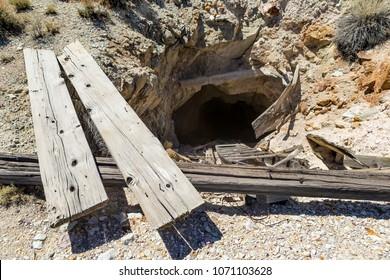 Dangerous open mine shaft in the Nevada desert.
