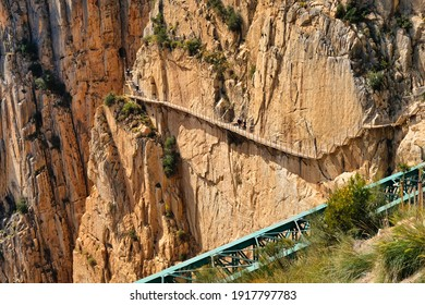Dangerous path in the Caminito del Rey gorge in Malaga (Spain)