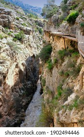 Dangerous path in teh Caminto del Rey gorge in Spain