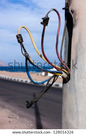 Incredible Dangerous Poor Electrical Wiring On Light Stock Photo Edit Now Wiring Digital Resources Almabapapkbiperorg