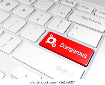 'Dangerous' Red button and the keyboard 3D illustration, 3D rendering