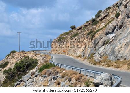 Dangerous Road On Island Crete Greece Stock Photo (Edit Now