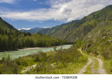 A dangerous road in the valley of the Katun River. Altai Republic
