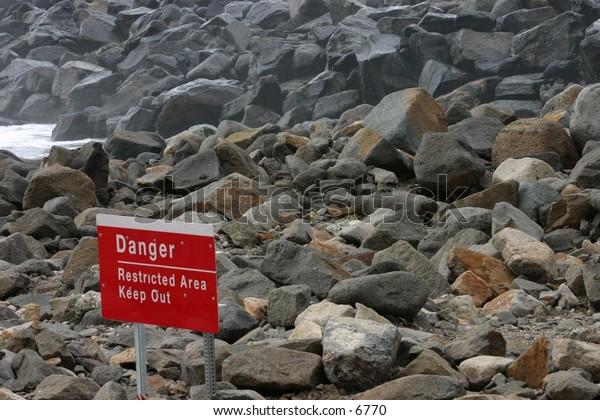 dangerous rocky area