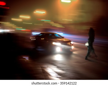 Dangerous situation on zebra crossing.  Intentional motion blur