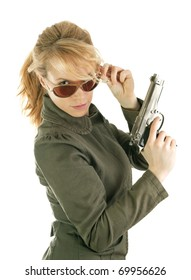 Dangerous soldier girl with gun and sun glasses