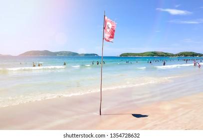 Dangerous - Strong current sign - Praia do Pero, Cabo Frio, Rio de Janeiro, Brazil (Pero's beach) - Shutterstock ID 1354728632